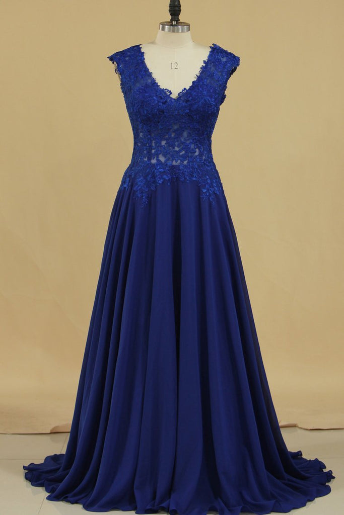 2019 Prom Dresses A Line V Neck With Applique Chiffon