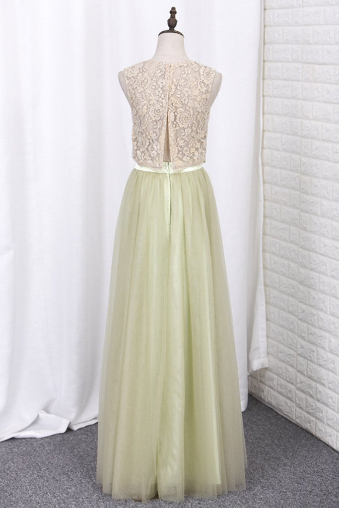 2019 Floor Length Two Pieces Scoop Tulle & Lace A Line Bridesmaid