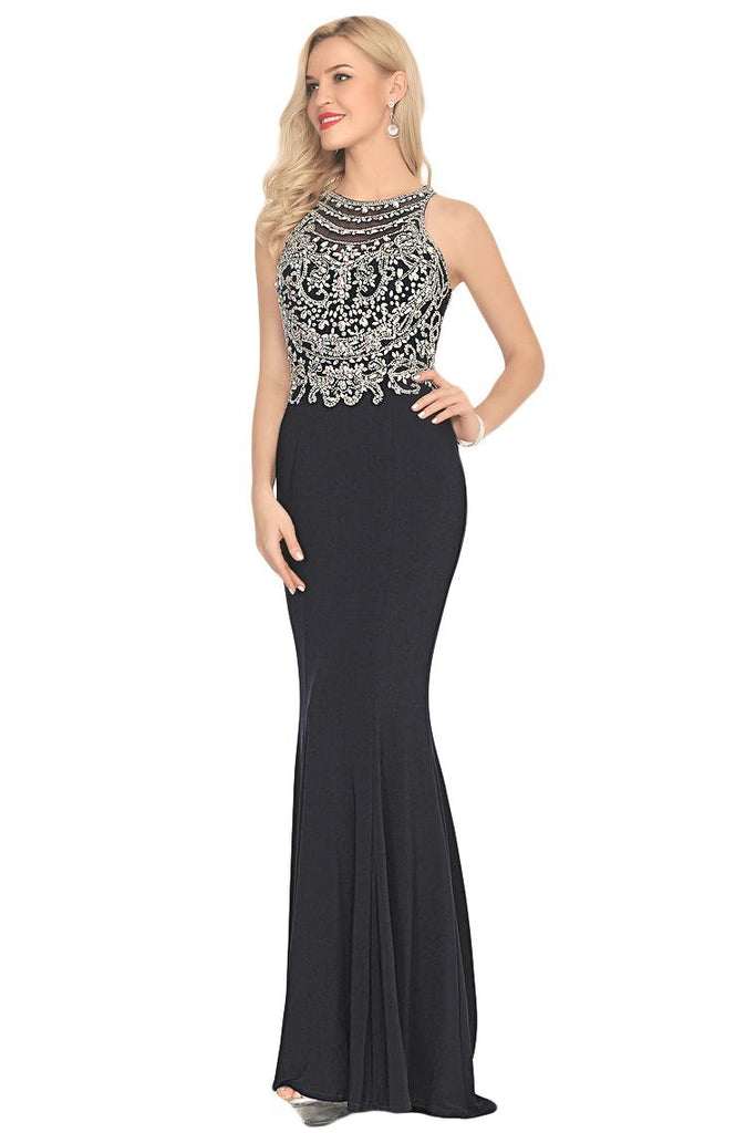 2019 Spandex Scoop Open Back Beaded Bodice Prom
