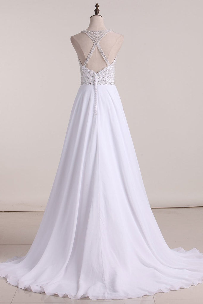 2019 New Arrival Spaghetti Straps A Line Wedding Dresses Chiffon With