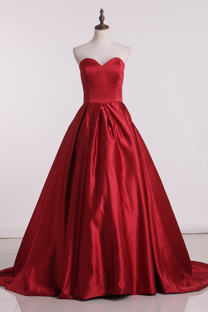 2019 Prom Dresses Sweetheart Satin Red