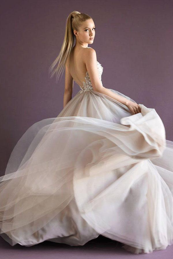 New Style Charming New Fashions Grey Tulle Evening Dress Elegant Prom Gowns for Spring Teens
