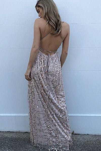 Sexy A-Line Spaghetti Straps Criss-Cross Pearl Pink Lace V Neck Prom Dress With Slit