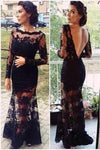 Mermaid Full Sleeve Sexy Black Lace Long Scoop Neck Floor Length Prom Dresses