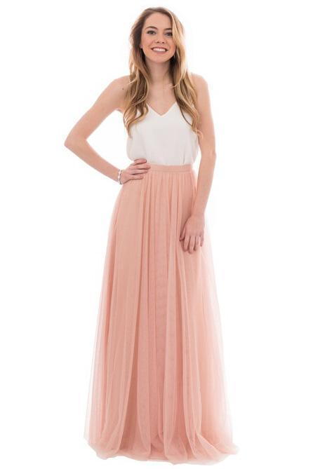 Elegant A Line Spaghetti Straps Sleeveless Pink and White Tulle Bridesmaid Dress with V Neck