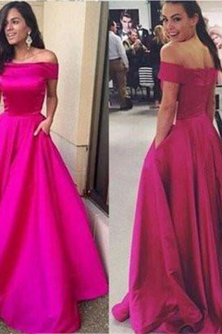 Off-the-Shoulder with Pockets Open Back Scoop A-line Simple Cheap Long Prom Dresses