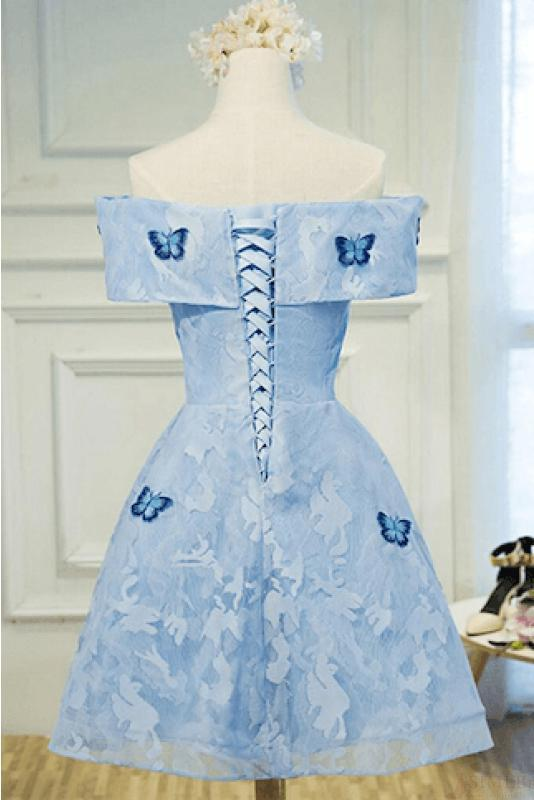 Cute A Line Sky Blue Lace Butterfly Appliques Off the Shoulder Homecoming Dresses