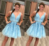 Blue Tulle V Neck Above Knee Beads Lace Appliques Short Homecoming Dresses