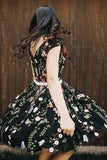 Chic Black Lace Flowers Cap Sleeves Homecoming Dress Unique Graduation Dress