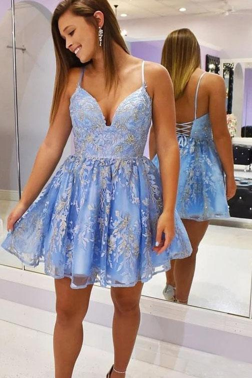Chic Spaghetti Straps V-neck Short Lace up Prom Dress Appliques Homecoming Dresses