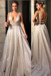 Chic Sparkly Deep V Neck Straps Wedding Dress Sequin Long Prom Dresses