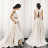 Chic Two Pieces Satin Ivory High Neck High Low Wedding Dresses with Pockets Bridal Dress