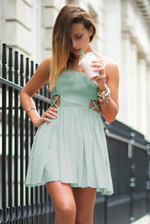 Criss Cross Cutout Mint Green Homecoming Dress Spaghetti Straps Chiffon Prom Dress