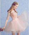 Cute A Line Half Sleeve Pink Round Neck Tulle Homecoming Dresses with Lace Prom Dress