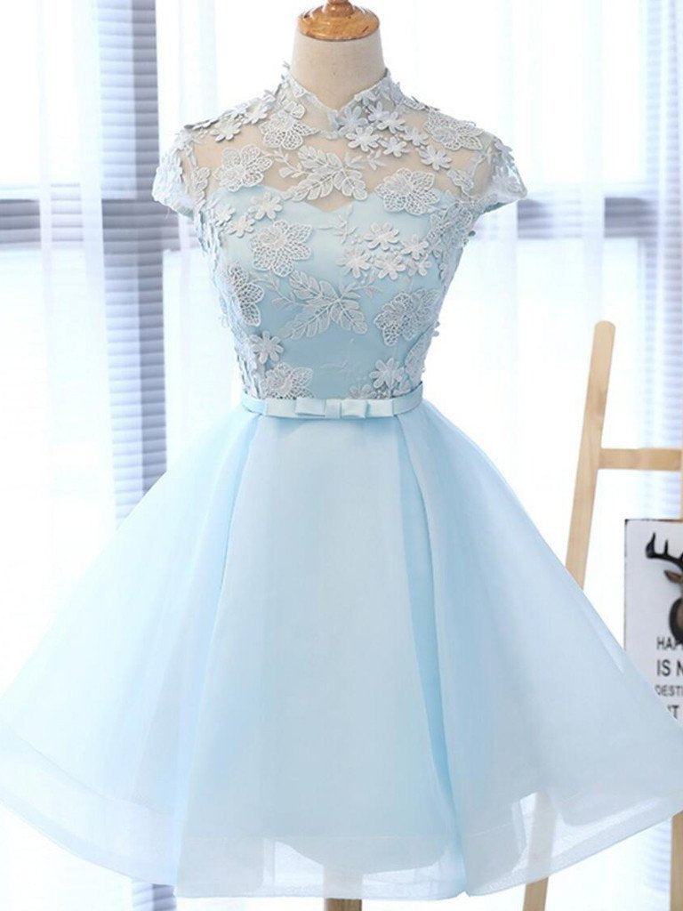 Cute A Line Light Blue High Neck Cap Sleeve Homecoming Dresses with Tulle Flowers