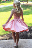 Cute A Line Satin Scoop Pink Beads Straps Short Prom Dresses Homecoming Dresses