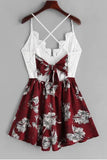 Cute A Line Spaghetti Straps V Neck White Lace Homecoming Dress Floral Print Cocktail Dress