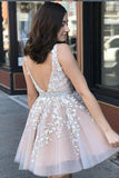Cute A Line V Neck Lace Appliques Above Knee Hoco Dresses V Back Cocktail Dress