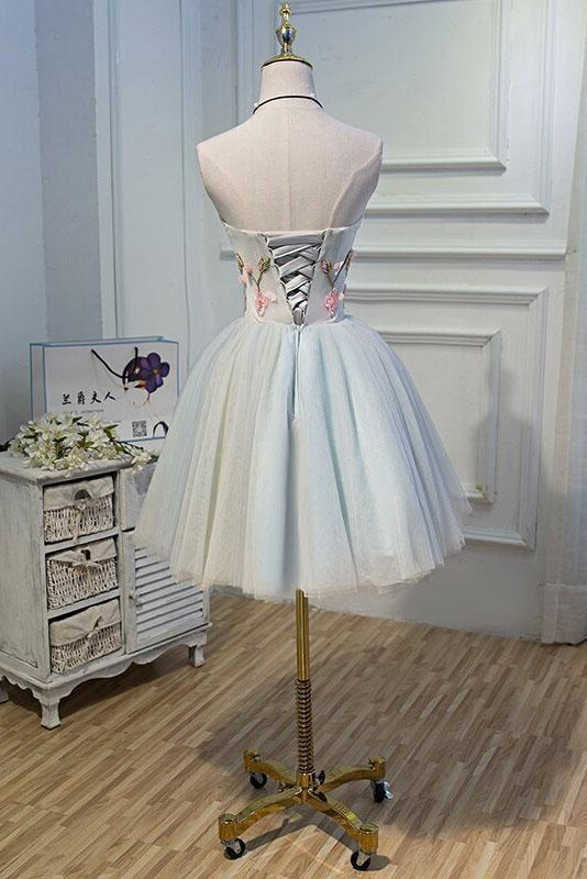 Cute Blue Strapless Tulle Homecoming Dresses with 3D Flowers Lace up Dance Dresses