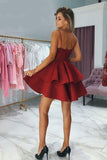 Cute Burgundy V Neck Spaghetti Straps Above Knee Short Homecoming Dresses
