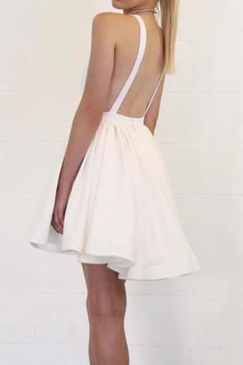 Cute Deep V Neck Satin Straps Ivory Backless Homecoming Dresses Short Prom Dresses