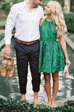 Cute Lace Green Scoop Backless Short Prom Dresses Above Knee Homecoming Dresses
