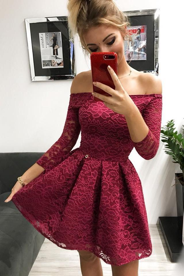 Cute Off the Shoulder Long Sleeves Burgundy Lace Homecoming Dresses Sweet 16 Dresses