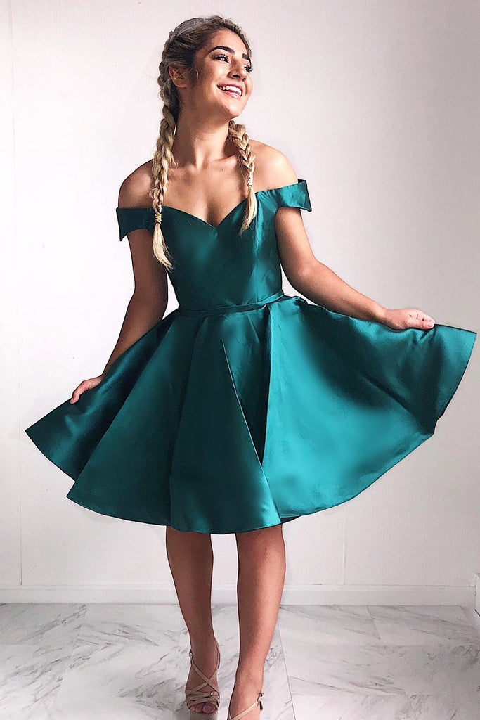 Cute Off the Shoulder Short Dark Teal Sweetheart Homecoming Dress Short Prom Dresses