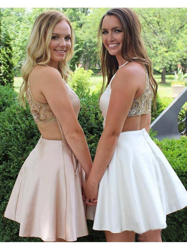 Cute Pink Mini Homecoming Dresses with Pocket Beaded Above Knee Short Prom Dresses