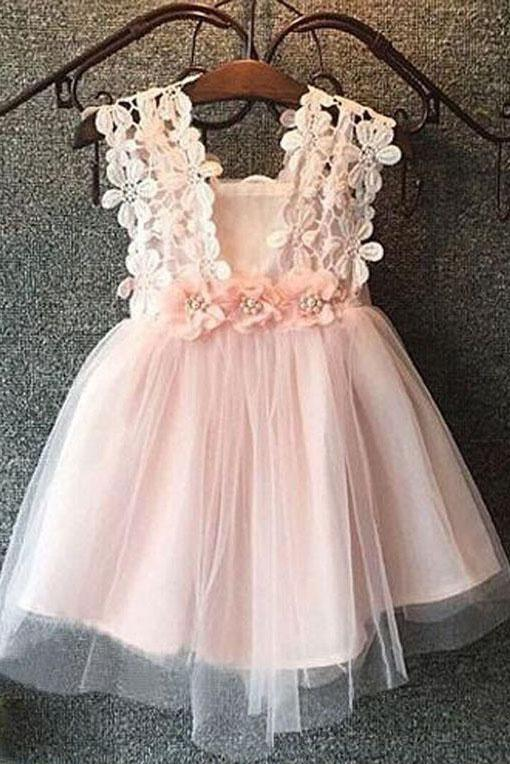 Cute Pink Tulle Bow Lace Beads Cap Sleeve Flower Girl Dresses Wedding Party Dress