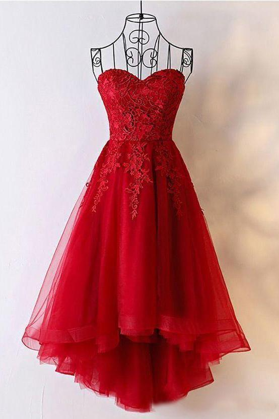 Cute Red Tulle Sweetheart Strapless Homecoming Dresses with Lace Short Prom Dresses
