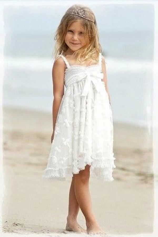 Cute Spaghetti Straps Sleeveless Ivory With Bowkont Lace Beach Flower Girl Dresses