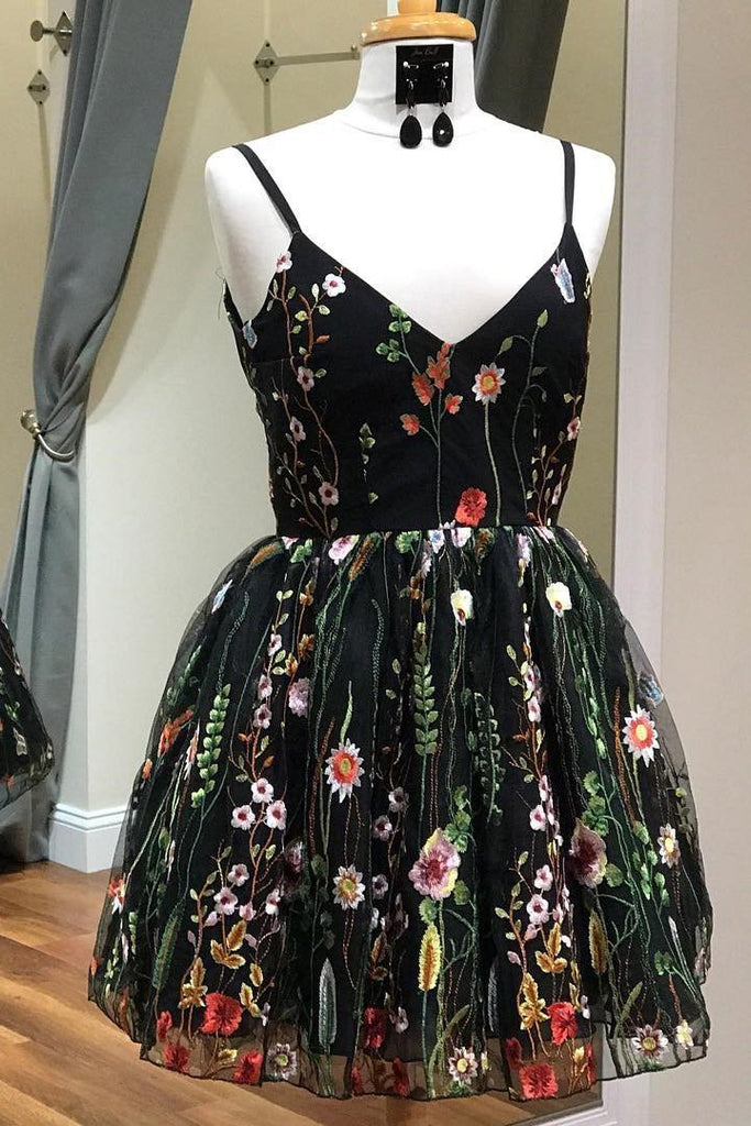 Cute Straps Black Embroidery Floral V Neck Short Homecoming Dress Short Prom Dress