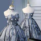 Cute Sweetheart Gray Strapless Beads Lace up Tulle Homecoming Dresses with Flowers
