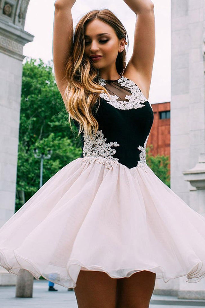 Cute Tulle Lace Short Prom Dresses Halter Pink and Black Homecoming Dresses