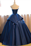 Dark Blue Ball Gown Satin Strapless Lace up Appliques Long Prom Quinceanera Dress