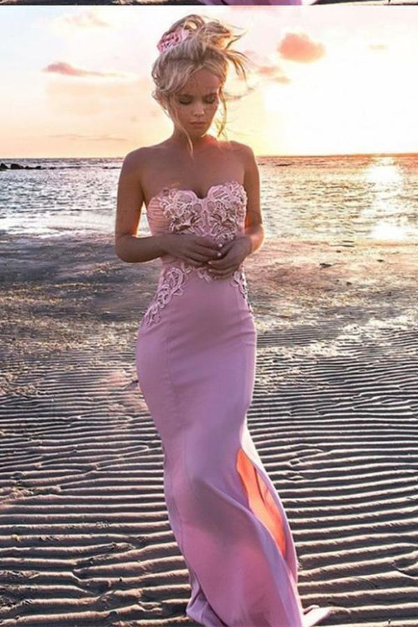 Sexy Mermaid Sweetheart Pink Strapless Satin Sleeveless Prom Dress with Applique Split