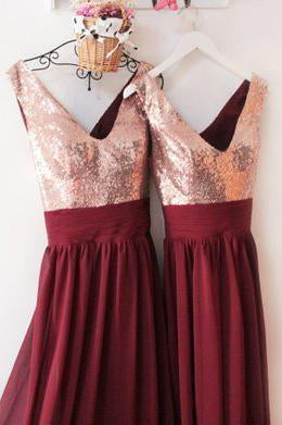 Dark Burgundy V Neck Chiffon Bridesmaid Dresses with Sequin V Back Prom Dresses