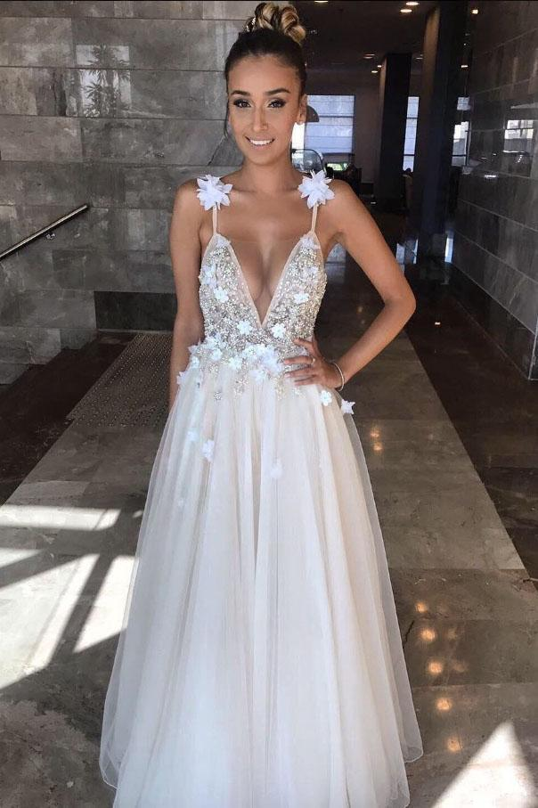 Deep V Neck Beads Prom Dresses Straps Tulle Appliques A-line Beach Wedding Dress