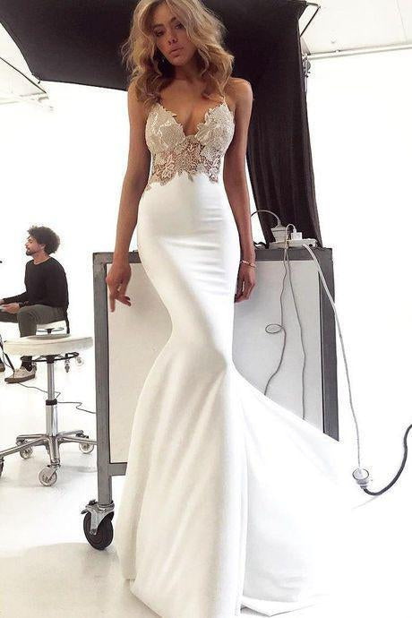 Deep V Neck Spaghetti Straps Ivory Lace Backless Mermaid Prom Dress Wedding Dresses