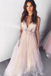 Dreamy V Neck Pearl Pink Tulle Floor Length Prom Evening Dress with Appliques