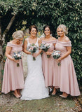 Dusty Pink Jersey Off the Shoulder High Low Ankle Length Bridesmaid Dresses with Satin