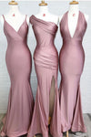Dusty Rose Mermaid V Neck Split Side Long Evening Gowns Bridesmaid Dresses
