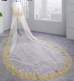 Elegant 3.5 Meters Long Gold Lace Edge Two Layers Long Wedding Veils with Comb