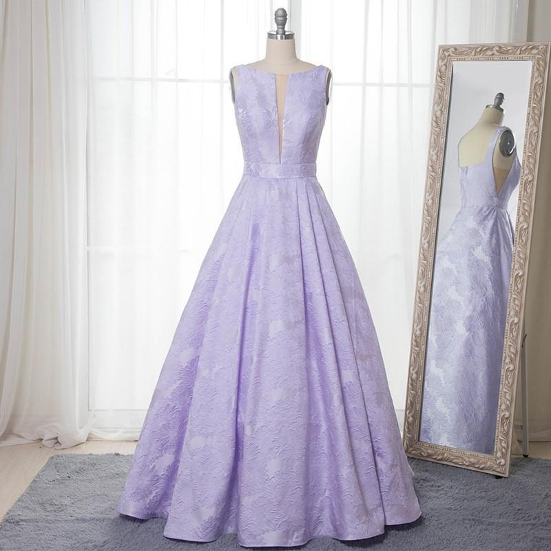 Elegant A-Line Bateau Sleeveless Lilac Floral Satin Prom Dress Long Party Dresses