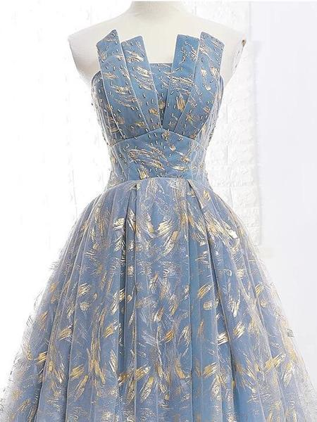 Elegant A Line Blue Tulle Long Strapless Lace up Gold Evening Dress Prom Dresses