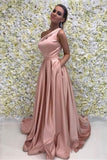 Elegant A Line One Shoulder Long Cheap Pink Prom Dresses Simple Prom Dresses with Pockets