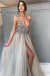 Elegant A Line Tulle Beads Deep V Neck Prom Dresses High Slit Ivory Evening Dresses