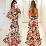 Elegant A line Red Floral Straps Backless Prom Dresses Long Formal Dresses