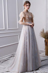 Elegant Beads Tulle Short Sleeve Prom Dresses Pink Long Cheap Evening Dresses